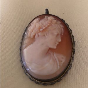 Vintage 800 Silver shell Cameo Brooch pin pendant